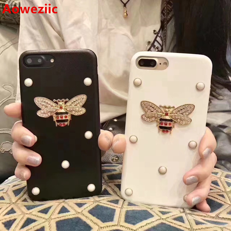 Aoweziic Europe the United States rhinestones bees phone case For iPhone6s leather shell 7 8Plus X pearl protection sets tide