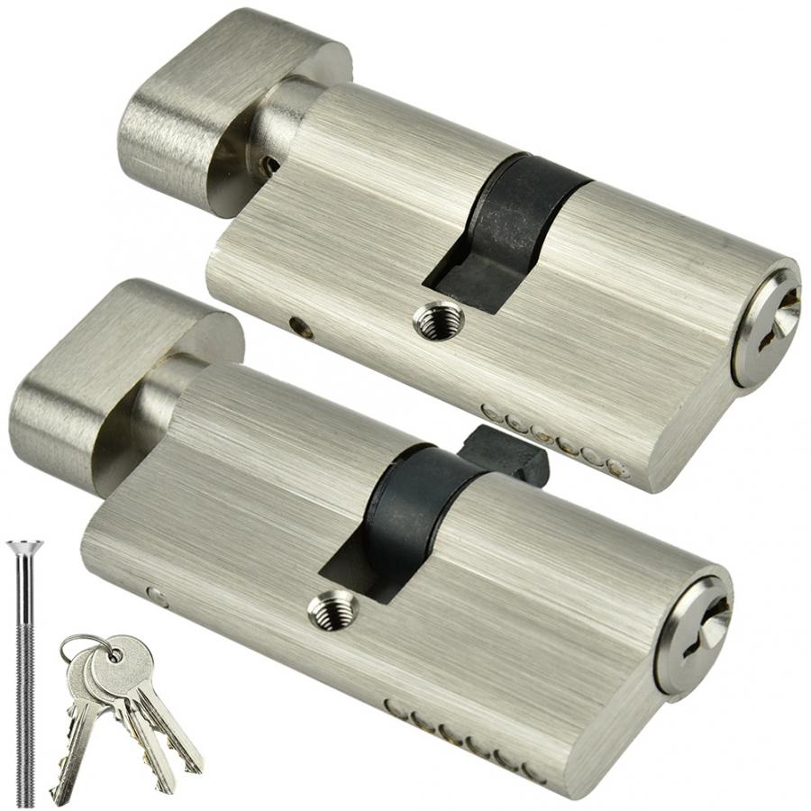 Copper Single Open Biased Lock Cylinder 60 70mm Security Anti Theft Entrance Brass Bedroom Living Door Lock Cylinder with Keys in Lock Cylinders from Home Improvement
