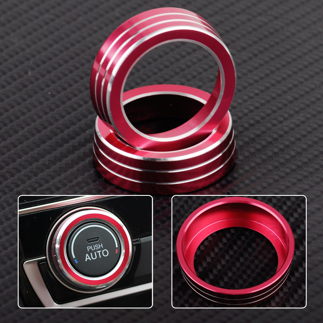 CITALL 2pcs Aluminum AC Switch Buttons Cover Air Condition Climate Control Ring Knob Trim for Honda Civic 2016 2017 Shape only