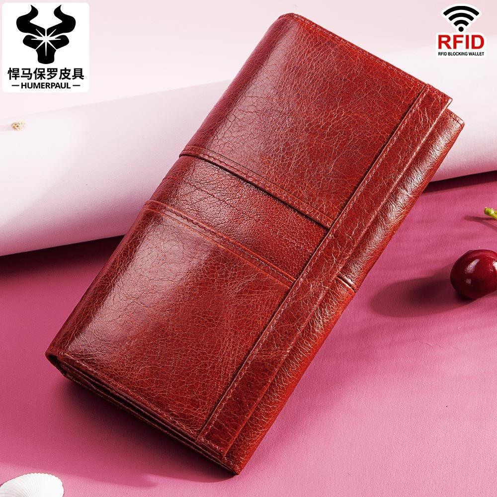 High-end Women's Genuine Leather RFID Long Wallet Female Casual Day Clutch Soft Cards Holder Phone Case Passport Holder