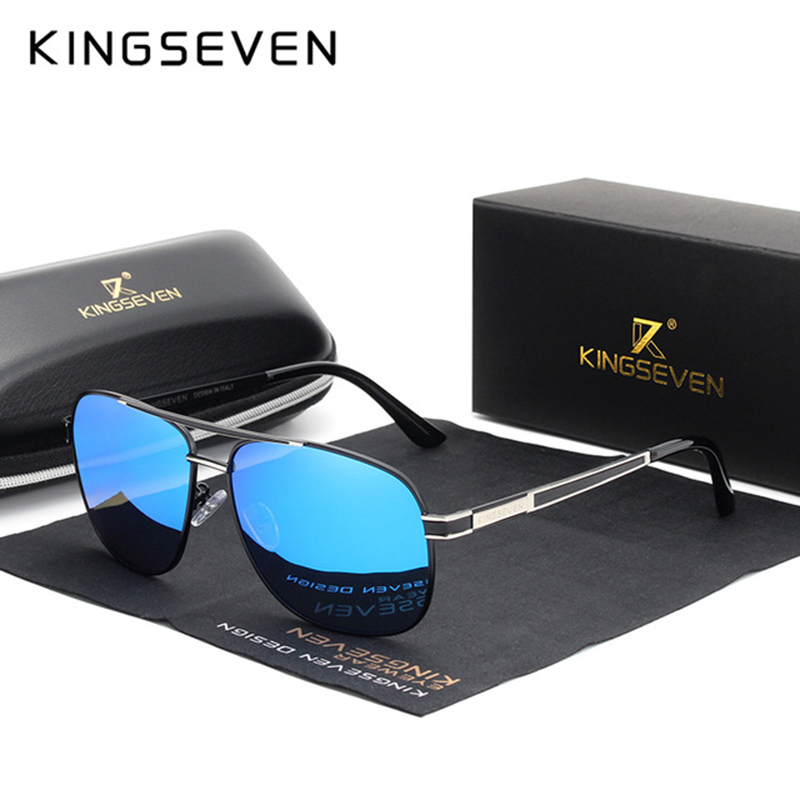 KINGSEVEN 2019 Stainless Steel Square Cermin mata Lelaki Polarized Mirror Sun Glasses Pilot Perempuan Eyewear Accessories N738