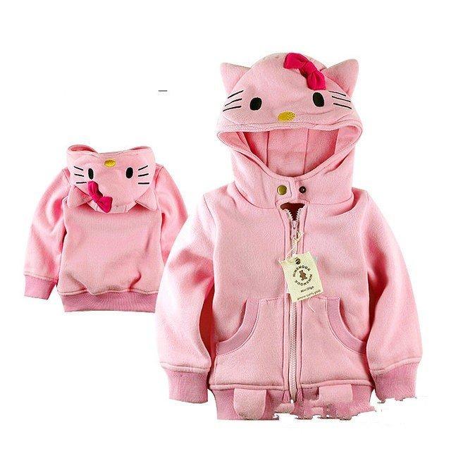 Aramex EMS DHL Frete Grátis meninas crianças jaqueta casaco com capuz crianças dos desenhos animados roupas Crianças casaco rosa Novo 5 pçs/lote 1-8 anos