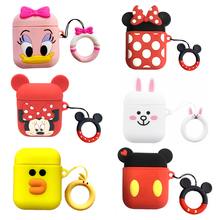 With Finger Ring Strap For AirPods Case Cute Cartoon Silicon Cover Air pods Bluetooth Earphone Cases Airpods Accessories