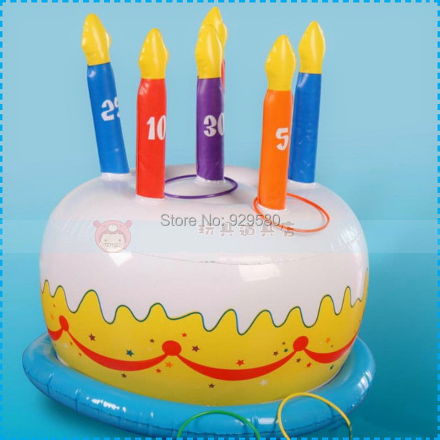 Pvc Inflatable Birthday Cake For Kids Party Game Toy For Children