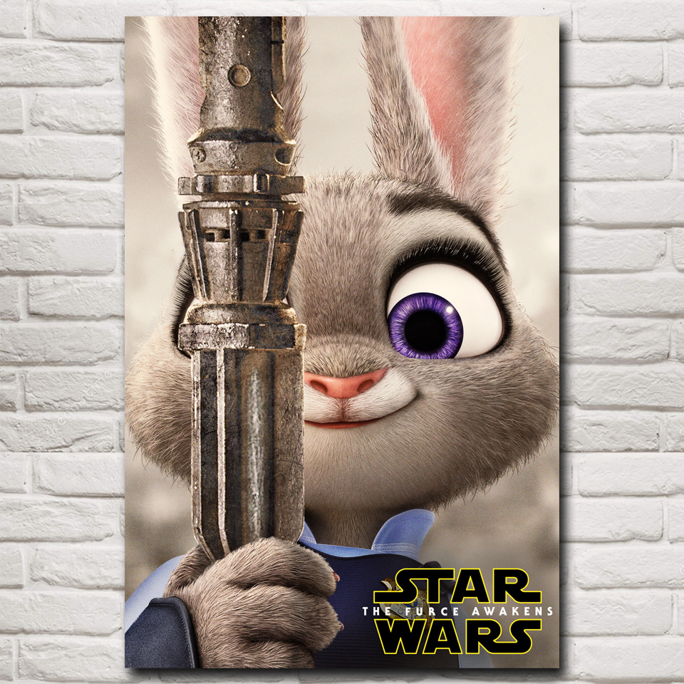Anime Movies Zootopia Judy Hopps Star Wars Art Silk Poster Prints 12x18 16X24 20x30 24x36 Inch Home Decor Painting Free Shipping