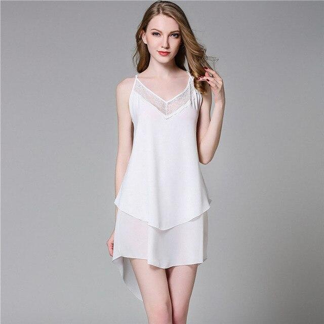 07baf91da4 Women Nightgowns Solid Summer Lace Spaghetti Strap New White Backless Sexy  Chiffon MINI Nightdress Sleepwear Femme Lounge Pyjama