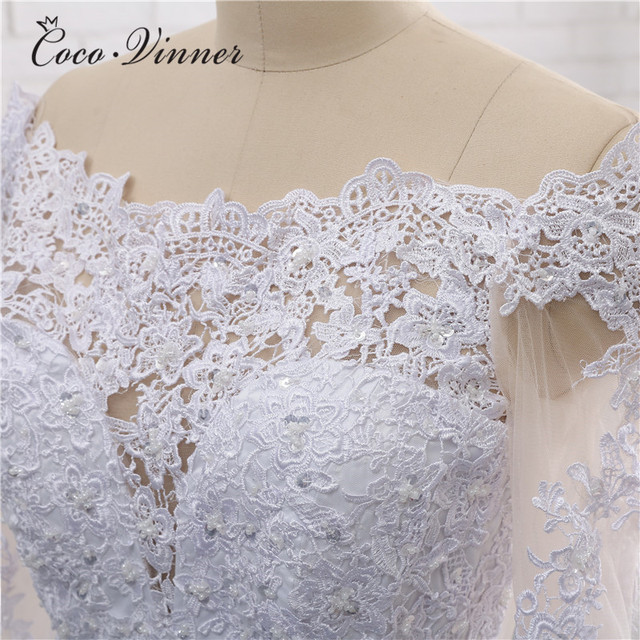 Long Sleeves Embroiery Pearls Beading Dubai Wedding Dress Illusion Back A line Boat Neck Plus Size Bridal Gown W0274