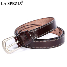 LA SPEZIA Vintage Leather Belt Women Coffee Pin Buckle Belts Female Classic Genuine Cowhide Ladies Double Loop