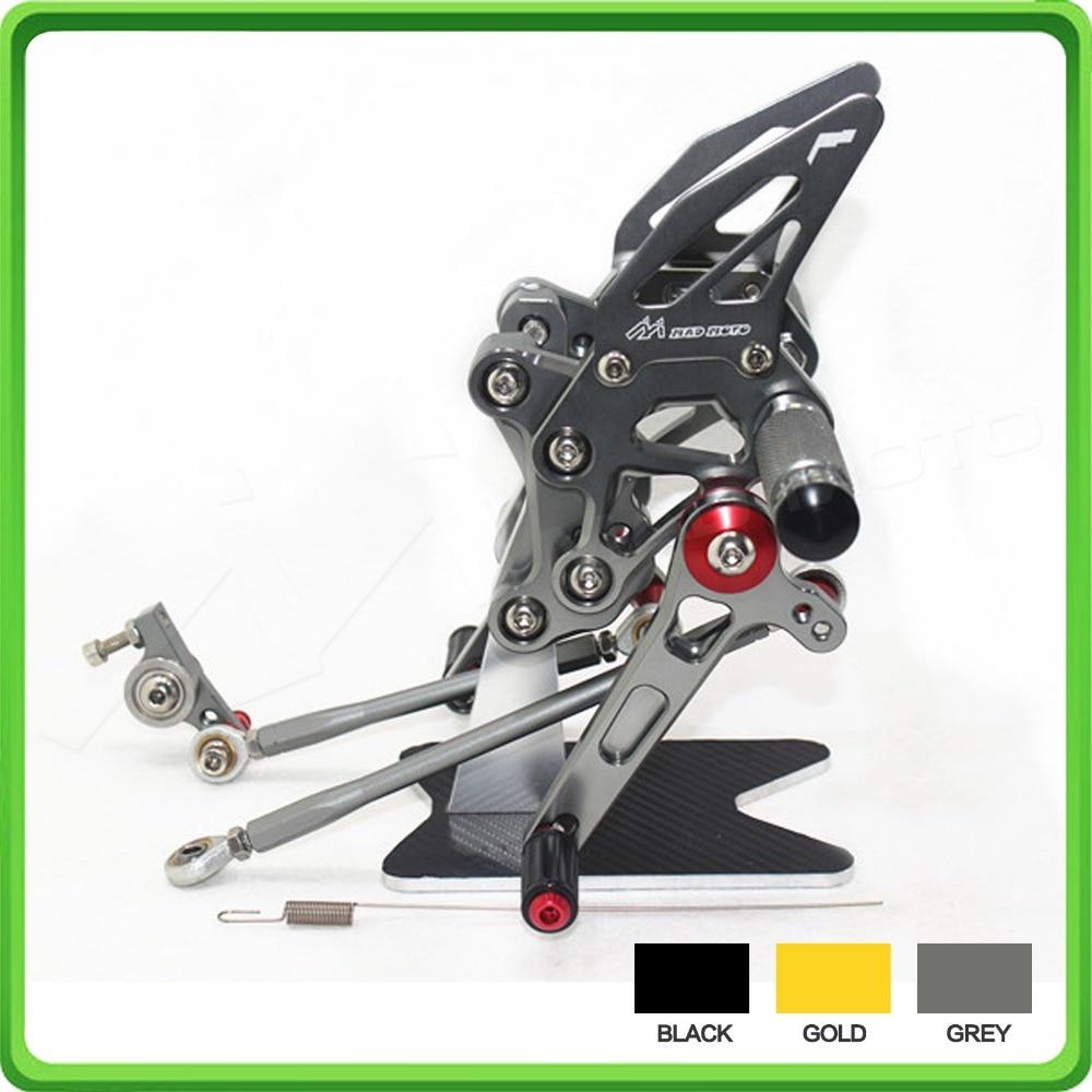 CNC Rearets boleh laras Belakang set set Foot Rest Pegs Pedal untuk DUCATI 1098 1098S 1098R 848 848EVO 1198 Grey