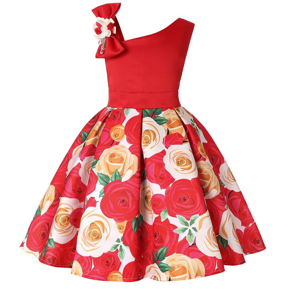 2019 new children's dress slant shoulder girl dress rose print dress dress party children's wear 5