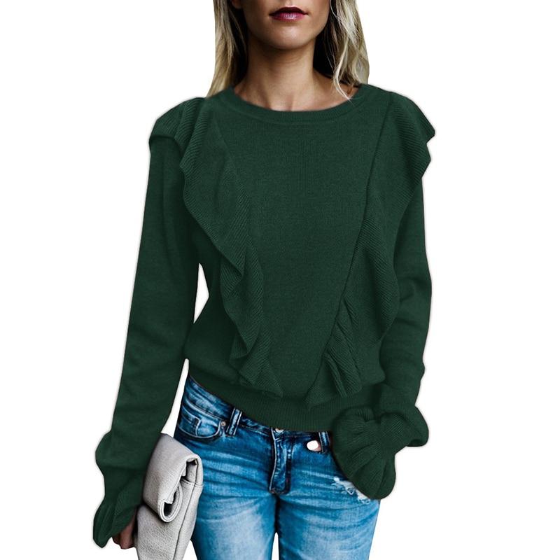 Winter Women T Shirt 2019 Fashion Ruffles Harajuku Tee Shirt Femme Long Sleeve Solid O-Neck T-Shirts Sweater Tops Sueter Mujer