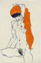 nude canvas painting portrait picture modern home decor giant poster mural print female nude stretched Egon Schiele modern art female nude