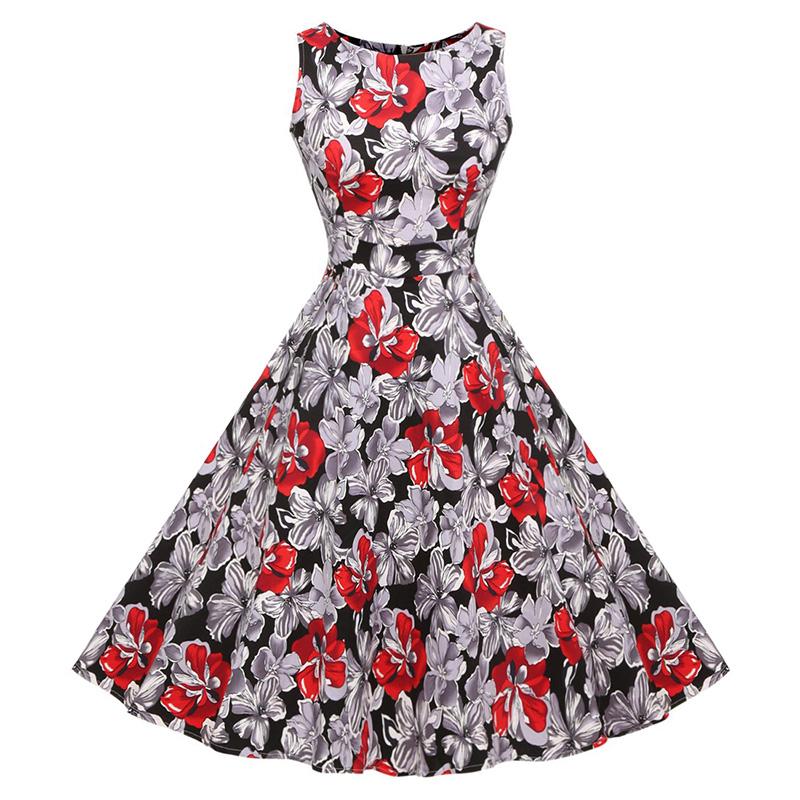 Kostlish Cotton Summer Dress Women 2017 Sleeveless Tunic 50s Vintage Dress Belt Elegant Print Rockabilly Party Dresses Sundress (81)