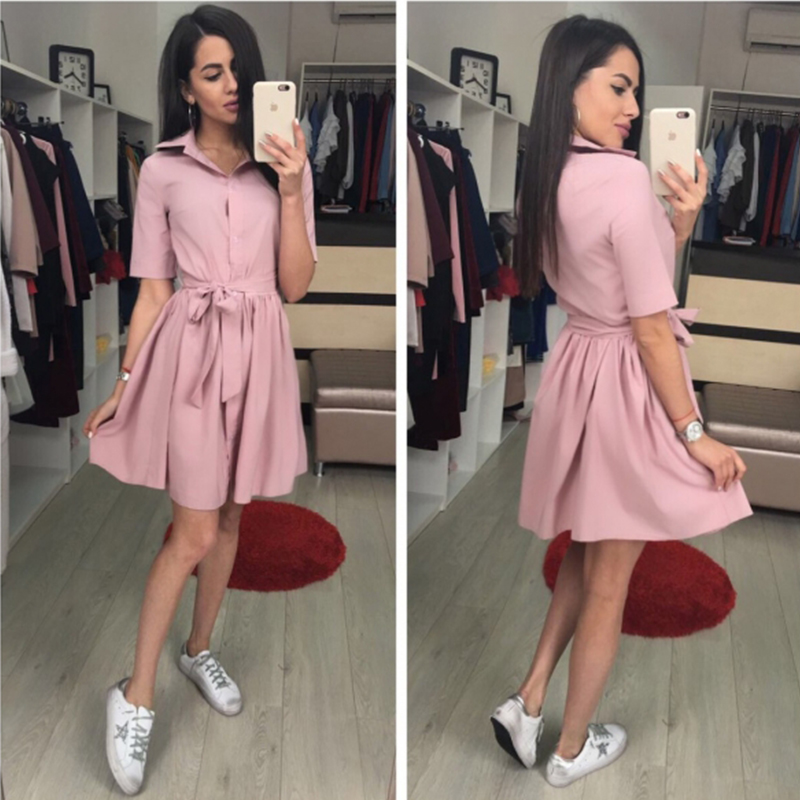 Women Turn Down Collar Sashes Dress 2019 Summer New Fashion Solid A Line Casual Dress Vintage Short Sleeves Party Dresses