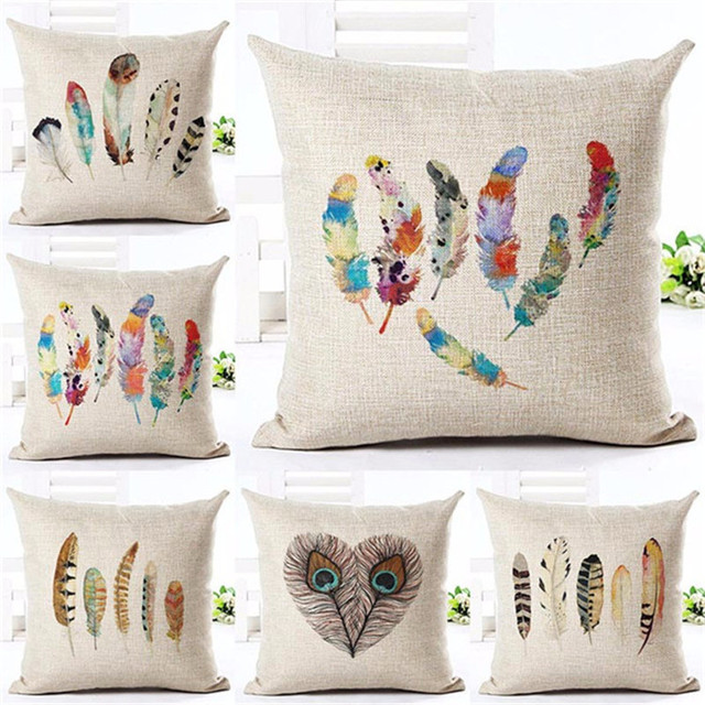 stripe village style velvet colored feathers throw pillow cases 45cmx45cm square top king size bed printing