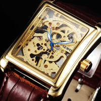 HOT New Fashion Watches Men Luxury Brand Rectangle Carving Skeleton Mechancial Hand Wind Leather Strap Dress