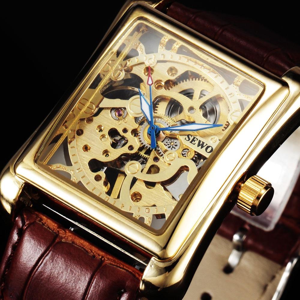 Sewor merk skeleton holle mode mechanische hand wind horloge mannen luxe vierkante zakelijke lederen band polshorloge sport klok