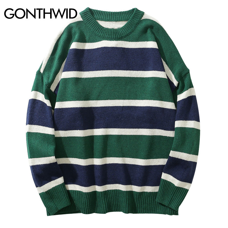 GONTHWID Men Rainbow Striped Pullover Sweaters 2019 Autumn Casual Knitted Jumpers Sweaters Fashion Knitwear Sweater Coat Tops
