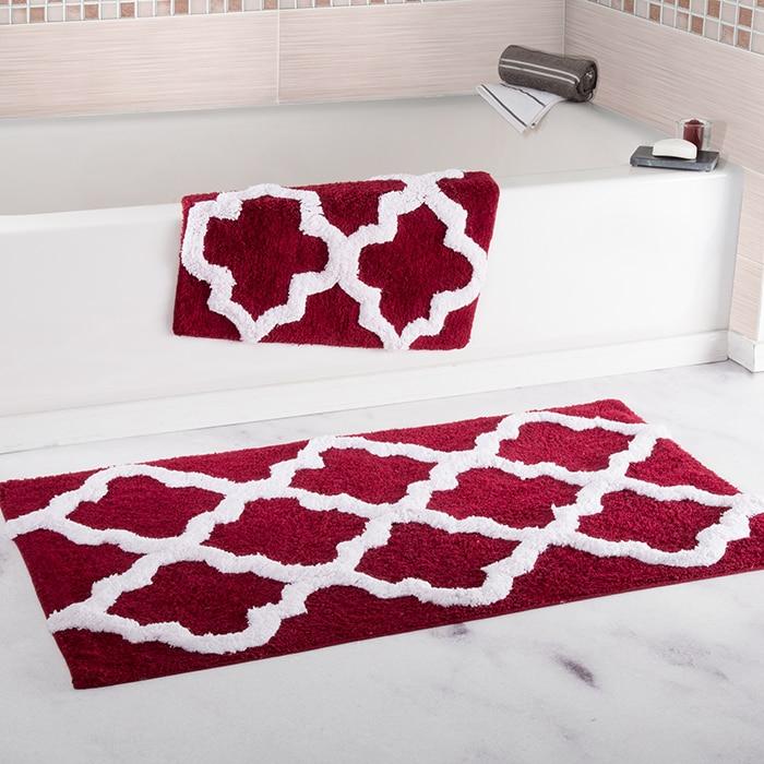 Lavish Home 100% Cotton 2 Piece Trellis Bathroom Mat Set - Burgundy