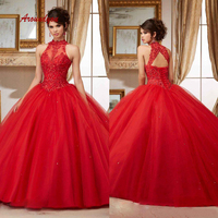 Red Lace Quinceanera Dresses Ball Gown Long Prom Debutante Sweet 16 Dress vestidos de 15 anos