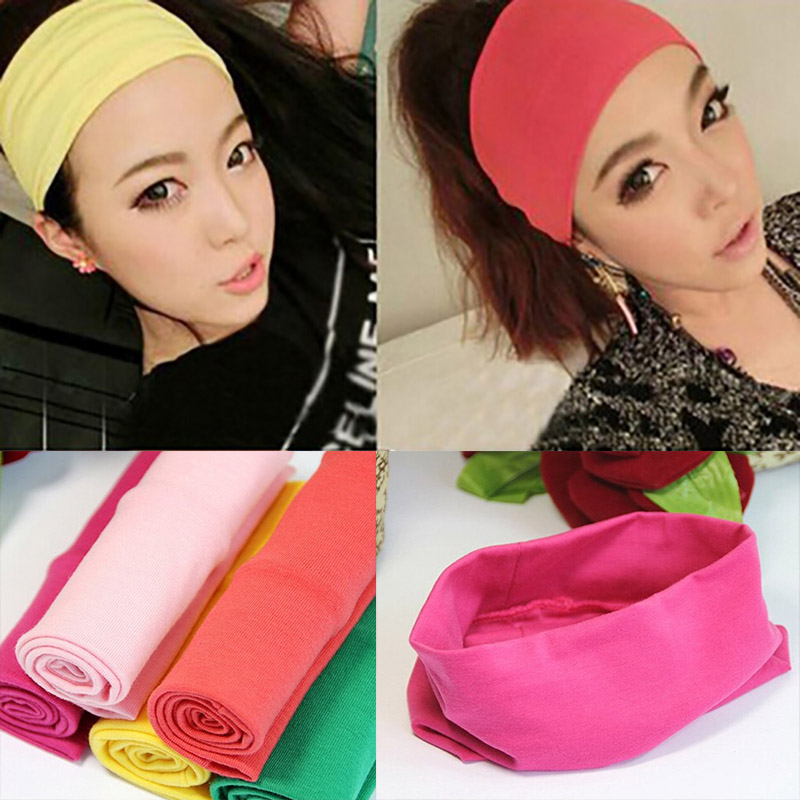 Fashion Women Candy Color Hair Band Sport Yoga Cotton Headband Popular Style Absorb Sweat Wide