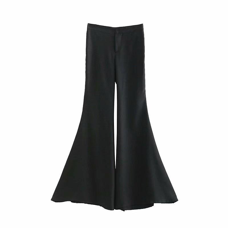 Slim Pantalones Length Mujeres Negro Flare Full Fit aXnHqd7