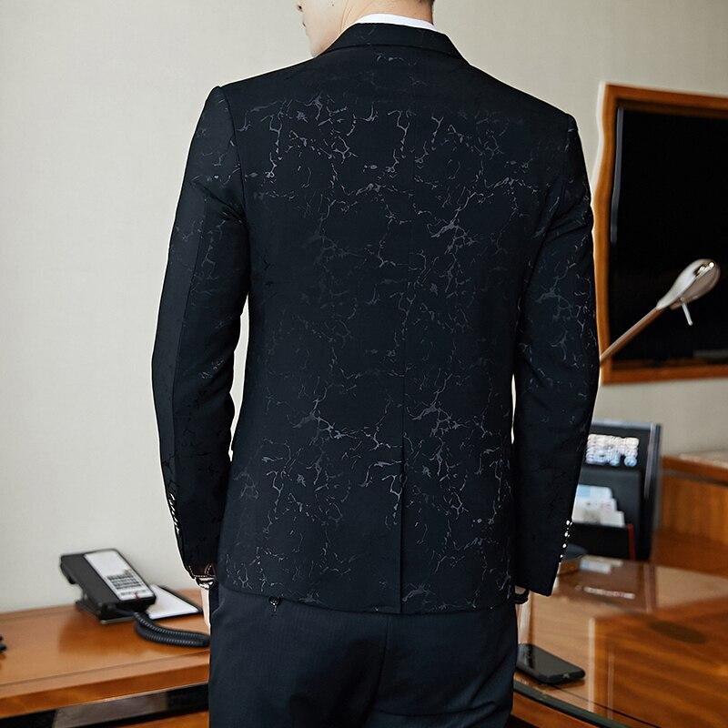 Blazer de bal de fête de luxe fil brillant vin rouge bleu noir contraste col robe dîner Blazer Homme coupe ajustée costume manteau veste - 3