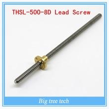 Высокое качество T8 * 8 мм привести винт 500 мм 8 мм привести трапециевидными шпинделя винт с 1 шт. латунь медь гайка