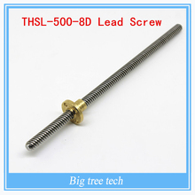 High quality T8*8 mm lead screw 500 mm 8mm lead trapezoidal spindle screw with 1PC brass copper nut
