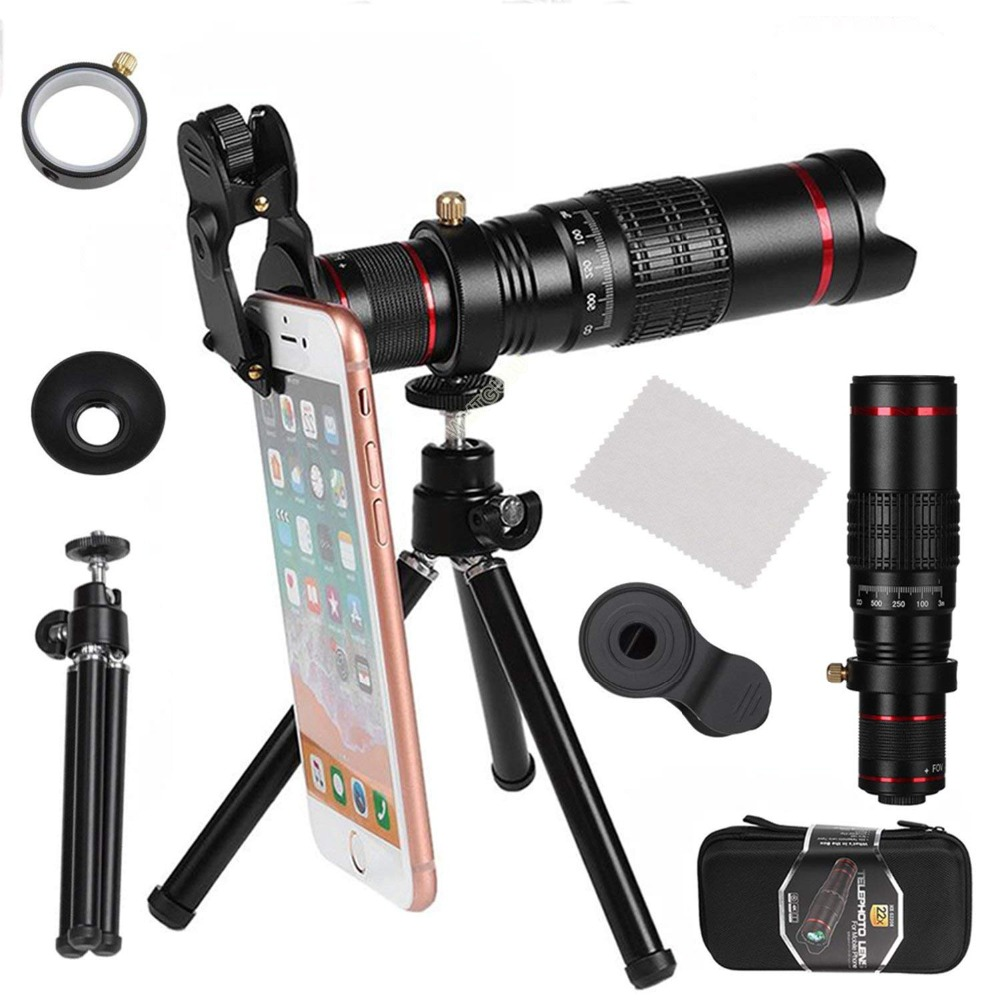 Universal HD 22X Telescope Zoom Lens for smartphone Optical Universal Clip Tripod For IPhone X 8 Plus Telescope Camera Lenses