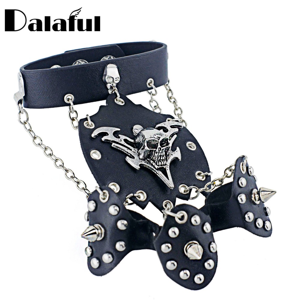 Dalaful Official Store Rock Skeleton Skull Glove Cone Stud Spikes Rivet Three Chain Link Biker Bangle Bracelet S246