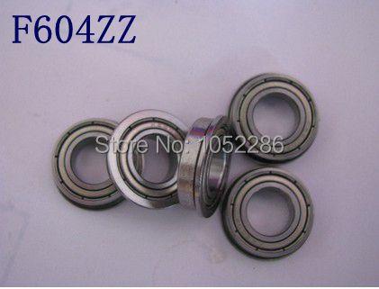 100pcs/lot  F604ZZ  Flanged bearing  F604  F604-2Z shielded Miniature flange deep groove ball bearings 4*12*4 mm