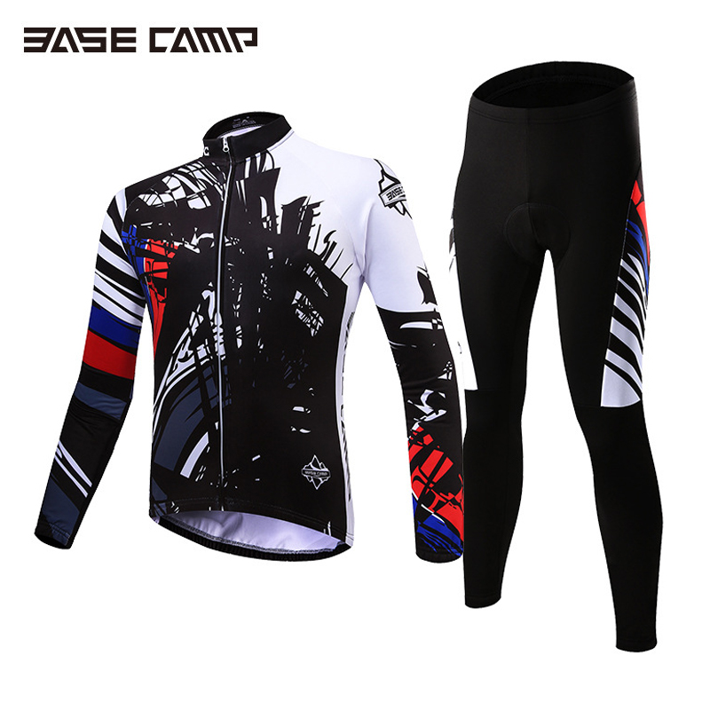 Basecamp Cycling Jersey Long Sleeves Sets Spring Bike Wear Breathable Bicycle Clothing Riding Outdoor Sports Sponge 3D Padded teleyi men cycling jersey bike long sleeve outdoor bike jersey bicycle clothing wear breathable padded bib pants set s 4xl