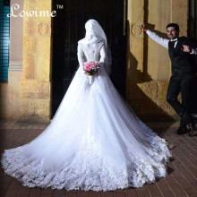 Robe De Mariage 2016 Fall Winter New Long Sleeves Wedding Dresses with Hijab Lace Up A