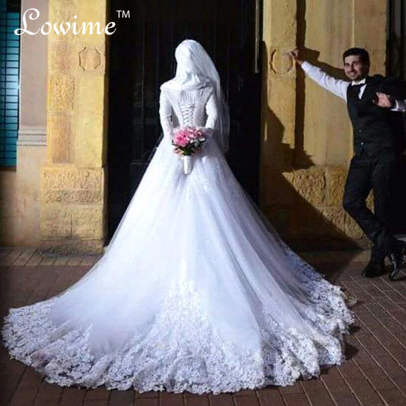 Robe De Mariage 2016 Fall Winter New Long Sleeves Wedding Dresses with font b Hijab b