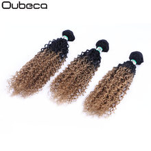 "Oubeca 16""18""20"" Sew In Synthetic Hair Weave Bundles Kinky Curly Two Tone Ombre Weaving Double Weft Hair Extensions For Women(China)"