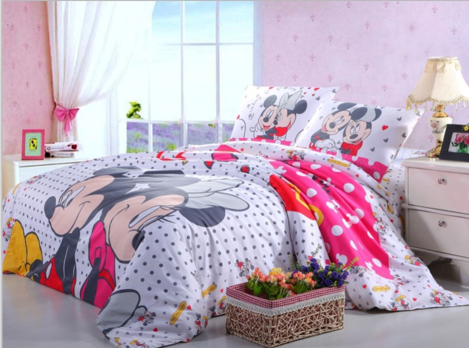 pink black polka dot mickey and minnie mouse bedding sets full queen size bed cover cotton bedspread girls home decor bedclothes in bedding sets from home - Minnie Mouse Bed Set