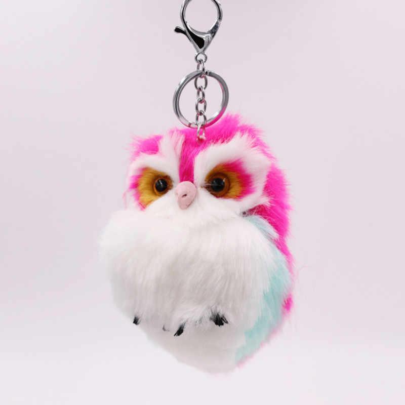 2018 Fur Coruja Chave Anéis Estilo Encantador Mulheres Furry Animal Keychain Multi Cores Bolsa Da Forma Bijuterias para Meninas