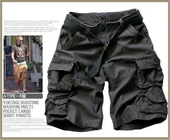 Новинка, Летний стиль, мужские повседневные армейские камуфляжные шорты Карго, хлопковые короткие штаны, военные камуфляжные модные шорты, мужские пляжные шорты - Цвет: Grey Black