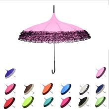 Princess Lace Pagoda Rain Umbrellas For Straight Bar Semi Automatic Long Handle Fashion Umbrella Windproof Sunny Rainy