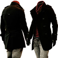 S~9XL! New 2016 Men's clothing cashmere overcoat business casual thickening medium-long woolen overcoat outerwear