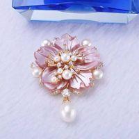 High end fashion natural pearl fritillaria big flower brooch 925 silver upscale version
