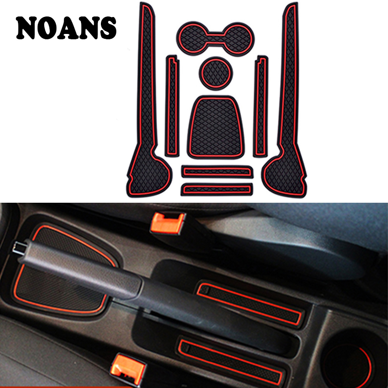 9PCS/Set For 2011-2016 VW Polo 6R GTI Volkswagen Polo Accessories 3D Rubber Car Anti Slip Mat Interior Door Pad/Cup Mat