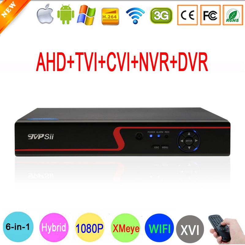 Panel rojo 1080P cámaras de vigilancia 1080N Hi3520D XMeye 8CH 6 en 1 Coaxial Híbrido Onvif WiFi XVI NVR TVI AHD DVR Envío gratis