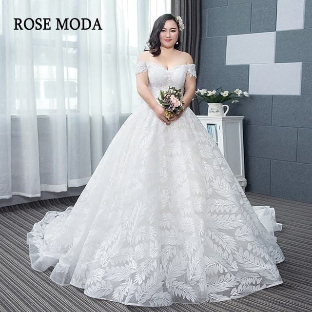 741a1e7aad7 Rose Moda Plus Size Wedding Dress 2019 Lace Wedding Gowns with Cap Sleeves  Long Train Custom Made