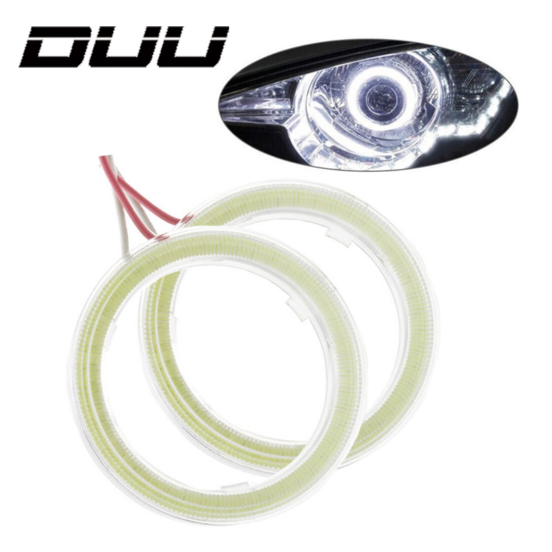 DUU 1 Pair Car Angel Eyes Led Halo Ring Headlight DRL Universal for Car Auto Moto Motorcycle Accessories DC 12V 10W 2pcs led daytime running lights cob angel eyes lights halo ring lamps headlight bulbs motorcycle for car auto moto dc 12v 3w drl