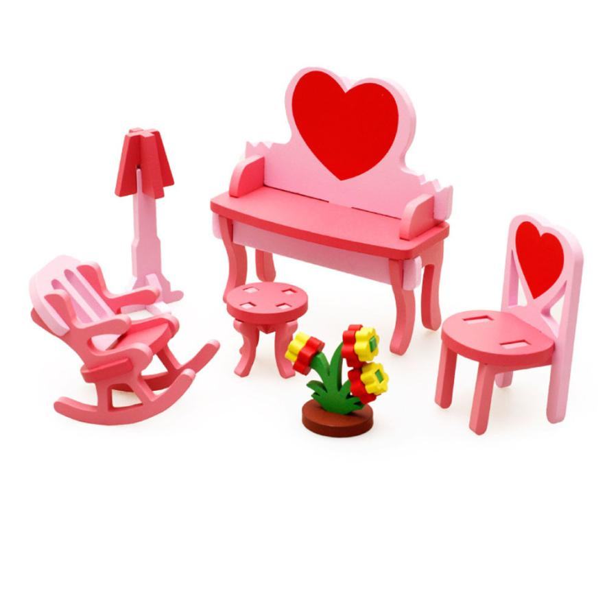 DIY Imagination Kid Children Educational Toy Wooden 3D Puzzle Home Table Chair Dresser Do-It-Yourself Building t211