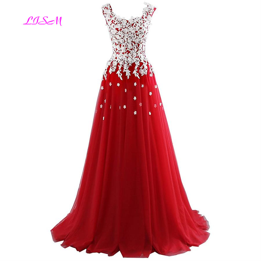 V Neck Straps Long Red Prom Dresses 2019 New Sweet White Appliques Princess Dress Girls Tulle