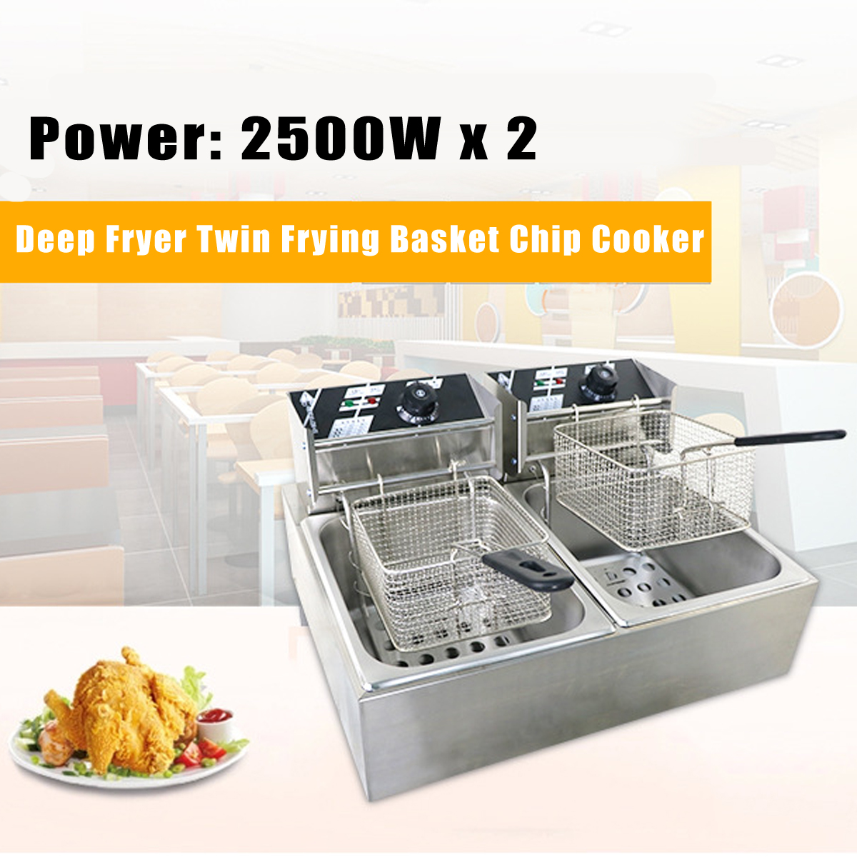 220V Deep Fryer Twin Frying Basket Chip Cooker Chef Electric Commercial Electric Fryer Pan Kitchen Appliances