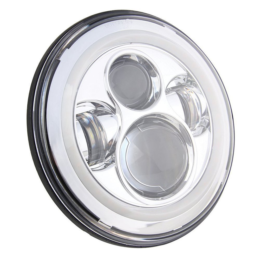 1 Piece Silver 7''inch Round LED Motorcycle Headlight 40W H4 H13 Driving Lamp with White Angel Eye for harley Davidson